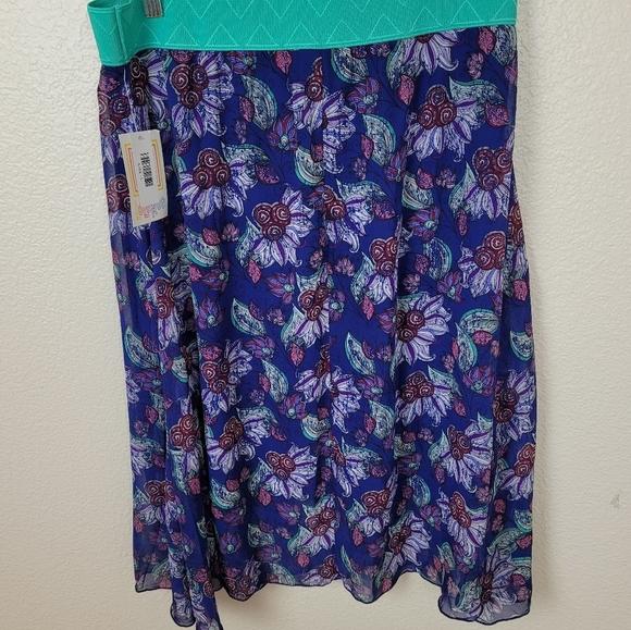 LuLaRoe Blue Purple Abstract Floral Lola Skirt L